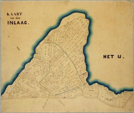 Kaart van de Inlaagpolder uit 1876.