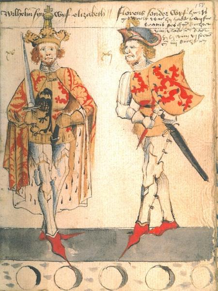 Willem II met keizerskroon en keizersmantel en rechts zijn zoon Floris V.