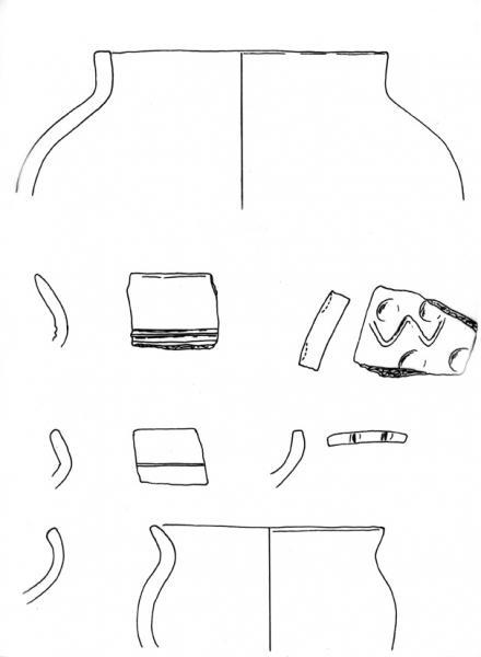 Tekening van aardewerk gevonden bij Nes-Noord.