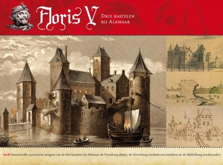 Een fantasievol negentiende-eeuws beeld van de drie kastelen bij Alkmaar.
