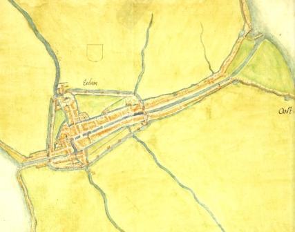 Oude kaart van Edam.