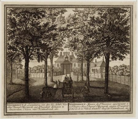 Op de achtergrond buitenplaats Westerhout, op de voorgroen de aankomst van een koets. Prent door Jan Daniel Bernards omstreeks 1732.