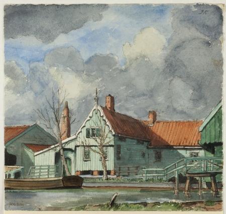 Zaans groen. Huis achter de kerk in Zaandijk, vervaardigd door J. Honig 1929