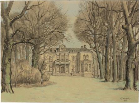 De voorgevel van Spaer en Hout vanuit de tuin in 1928. Tekening door Hendrik Jan Wesseling (1881-1950)