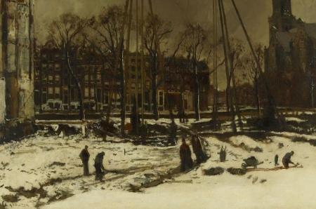 'Doorbraak van de Raadhuisstraat in de winter, 1895' G.H. Breitner