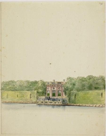 De achterzijde van het buiten Spaarnhout aan het Zuider Buiten Spaarne. Tekening van omstreeks 1730.