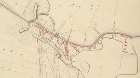 Kaart van Spaarndam in de 19e eeuw.
