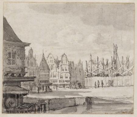 Het stadhuis (rechts) in aanbouw, ca. 1650: het heien van de Noorse palen is begonnen. Datering (na 1652) en signatuur (Jacob van Ruisdael of Jan van Kessel) van de tekening zijn onduidelijk. Collectie STADSARCHIEF AMSTERDAM