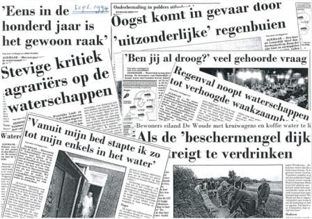 Krantenknipsels wateroverlast, september 1994