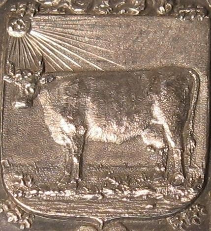 Detail gedenkpenning met het polderwapen.