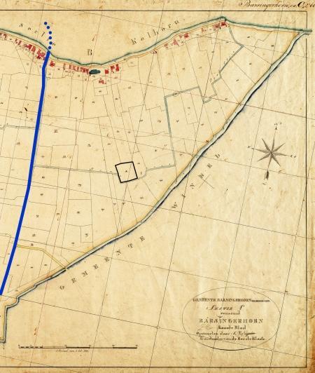 Kadasterkaart 1820 met de kerk aan de dijk, de Kruisakker en de loop van de voormalige Leek.