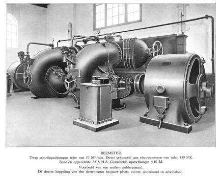 Interieur van het elektrische gemaal aan de Westdijk bij De Rijp, ca. 1925.