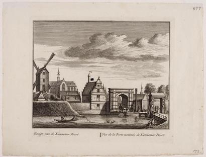 De Kennemerpoort op een gravure van L. Schenk, 1735.