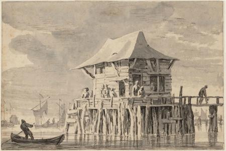 Hannekes Boomhuis afgebeeld op tekening.