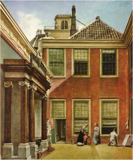 De Binnenplaats van Teylers Fundatiehuis te Haarlem, door Wybrand Hendriks.
