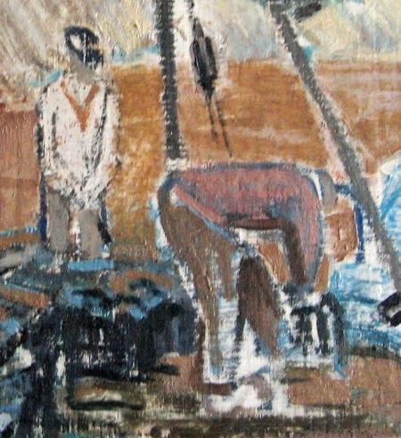 Hondsbossche Zeewering, detail met dijkwerkers, Dirk Trap, ca. 1960.