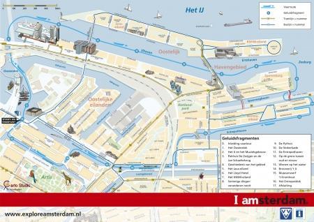 Kaart met route op het Oostelijk Havengebied. Maker: Carto Studio bv, i.o.v Amsterdam Toerisme & Congres Bureau