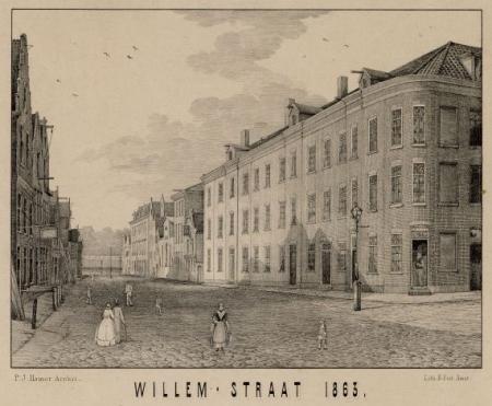 De gloednieuwe Willemsstraat, zoals afgedrukt in het Overzicht der Vereeniging ten behoeve der arbeidersklasse (1852-1902).