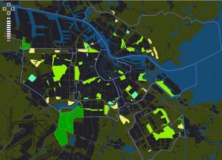 De groenkaart van Amsterdam.