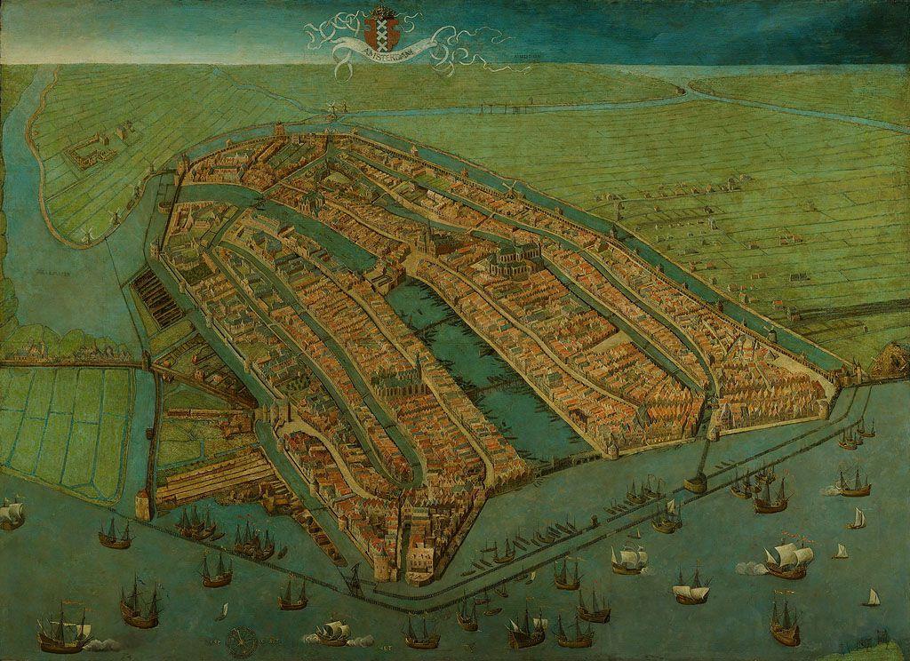 Gezicht op Amsterdam in vogelvlucht, door Cornelis Anthonisz., 1538.