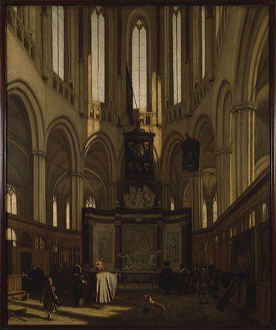 Het koor van de Nieuwe Kerk met het praalgraf van Michiel de Ruyter.