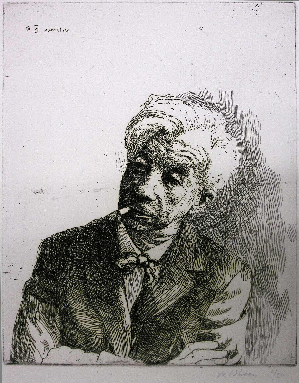 Portret van jhr. W.J.H.B. Sandberg, door Aat Veldhoen.