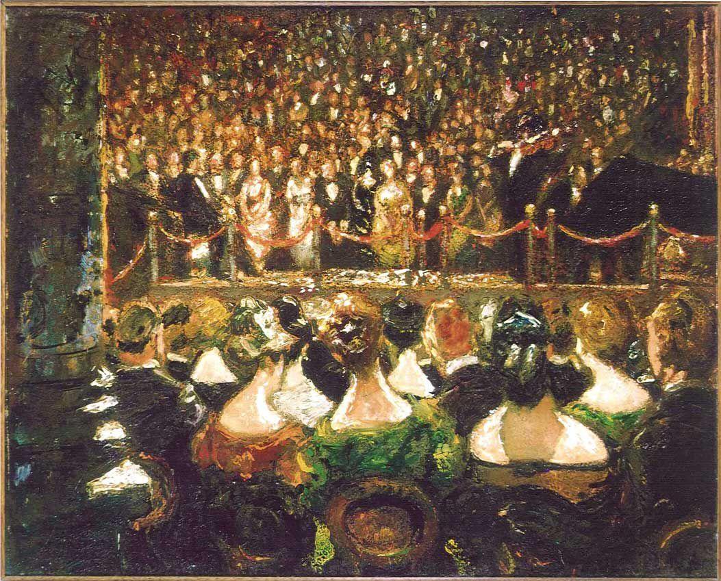 Concert in de Grote Zaal van het Concertgebouw, door Martin Monnickendam, 1925.