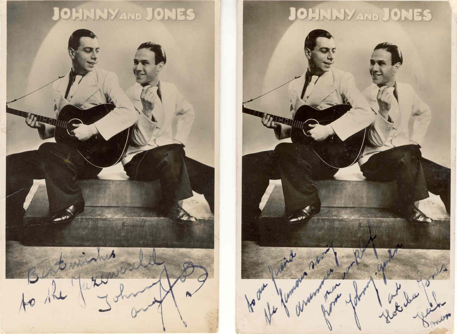 Gesigneerde foto's van het duo Johnny and Jones.