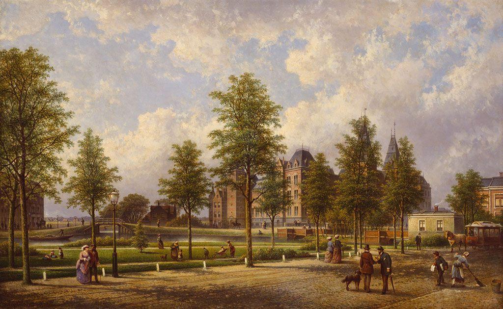 Gezicht op het Rijksmuseum vanaf de Weteringschans, door Johannes Hilverdink, 1885.