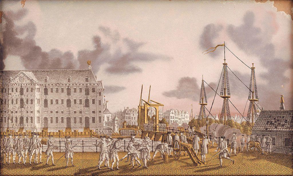 Strijd tussen patriotten en prinsgezinden bij de Kattenburgerbrug.
