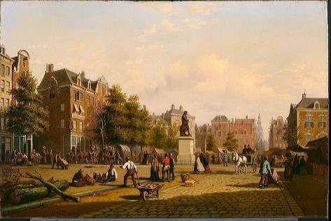 Reguliersplein (thans Thorbeckeplein) in 1869, met op de achtergrond de Botermarkt (thans Rembrandtsplein)