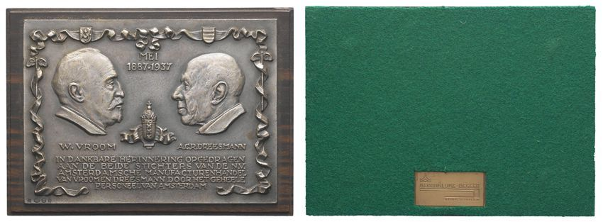 Plaquette ter ere van W. Vroom en A.C.R. Dreesmann.