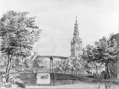 De Zuiderkerkstoren in Amsterdam gezien vanaf de Houtgracht.