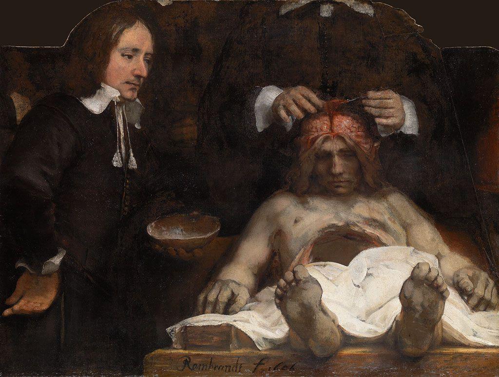 Anatomische les van Dr. Jan Deijman (fragment), door Rembrandt, 1656.