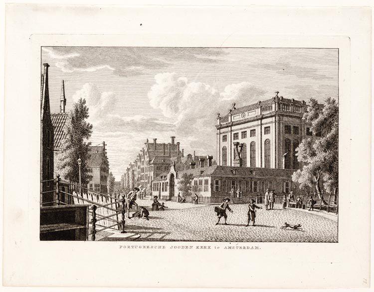 Topografische prent met rechts de Portugese Synagoge, voltooid in 1675.