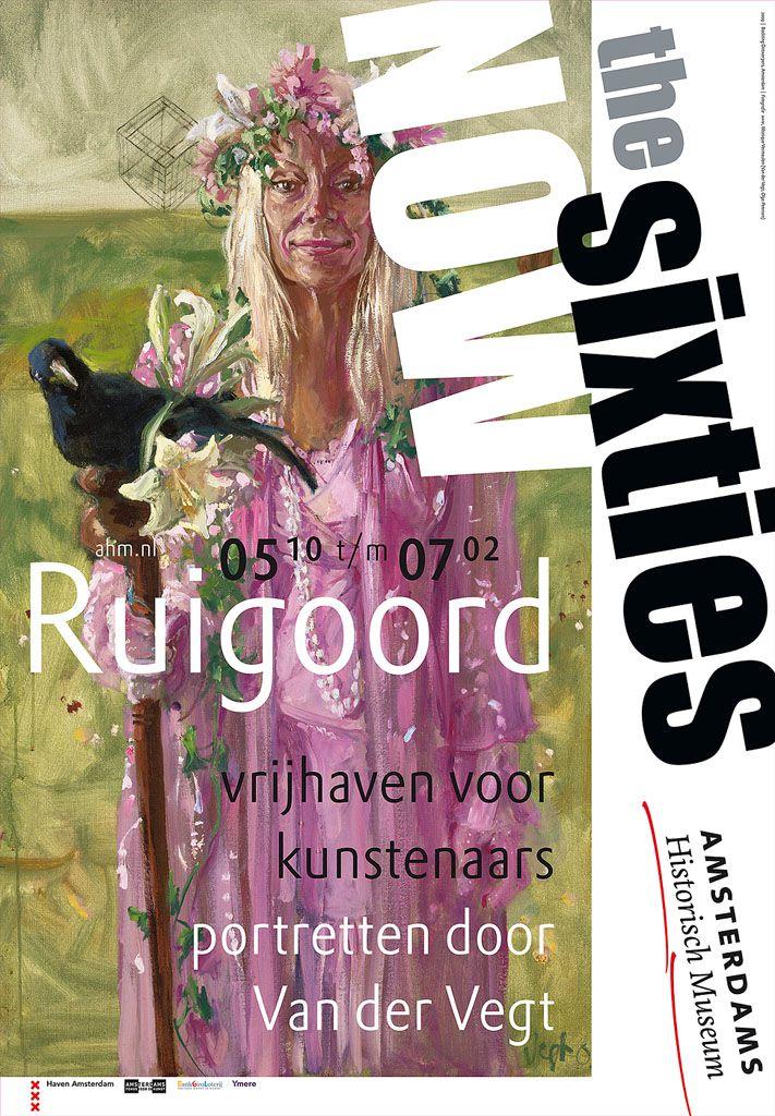 Affiche voor tentoonstelling 'Ruigoord, vrijhaven voor kunstenaars. Portretten door Van der Vegt (The Sixties Now)'.