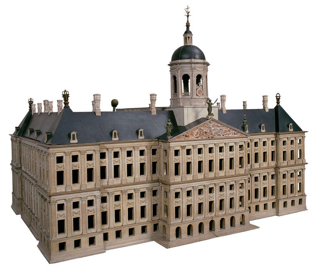 Model van het nieuwe stadhuis op de Dam