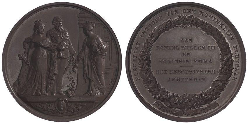 Speldje ter gelegenheid van de intocht in Amsterdam van koning Willem III en koningin Emma in 1879.