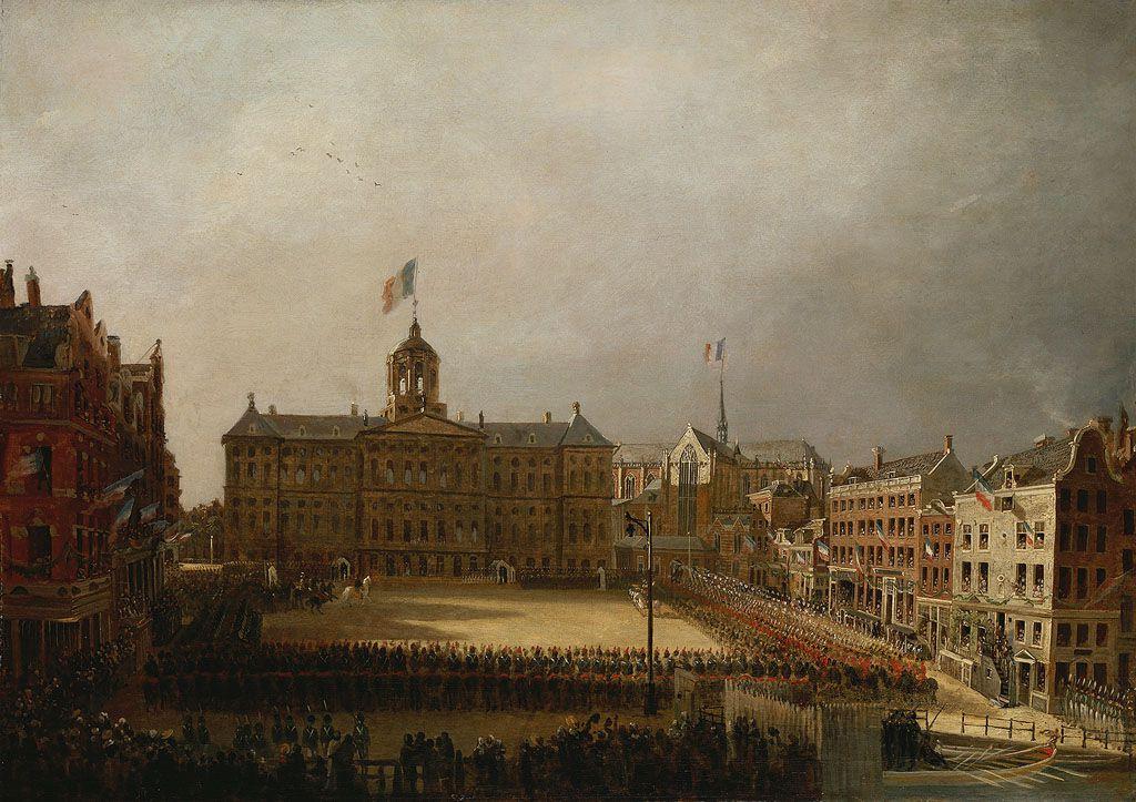 Intocht van Napoleon in Amsterdam: de Dam en het Paleis.