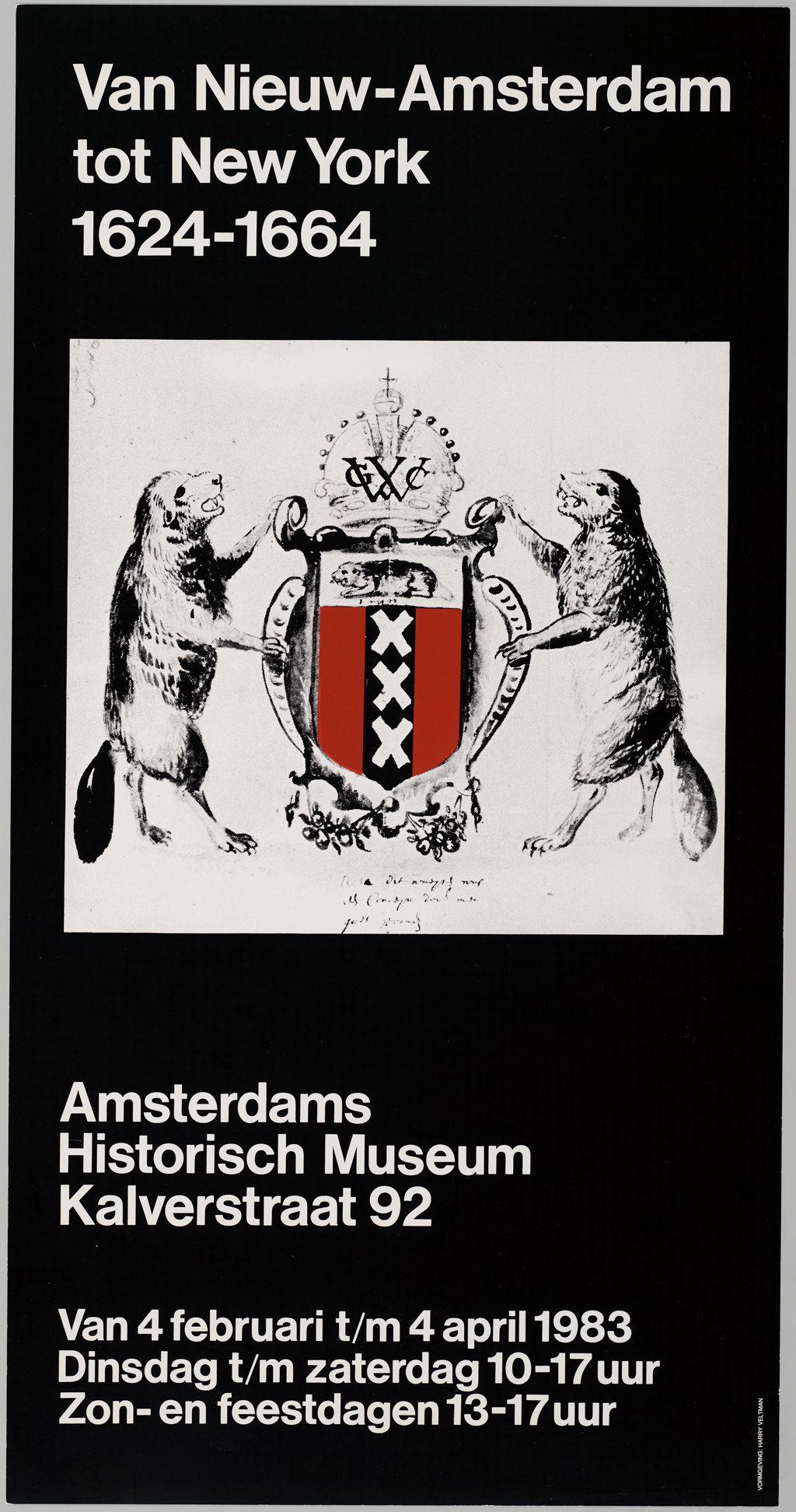 1983, affiche voor tentoonstelling Van Nieuw-Amsterdam tot New York 1624 - 1664