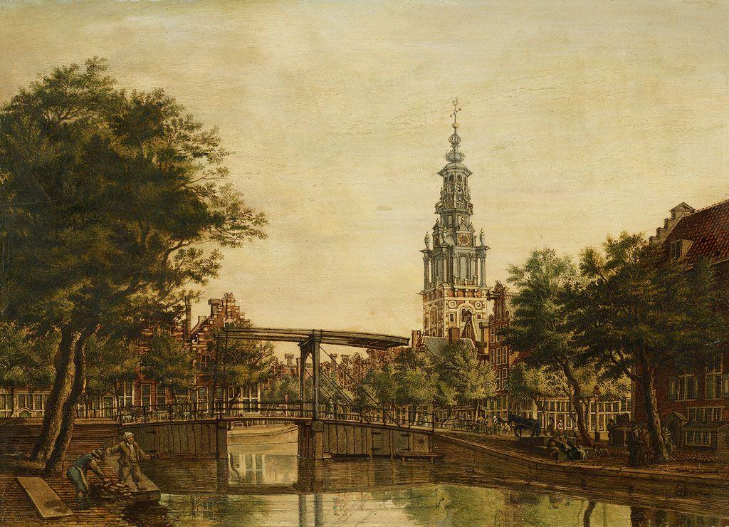 De Zuiderkerkstoren gezien van de Houtgracht