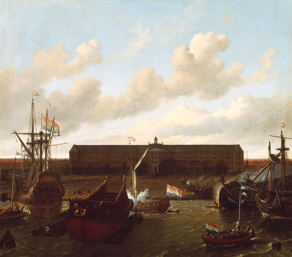 De werf van de Verenigde Oost-Indische Compagnie met het Oost-Indisch Zeemagazijn op het eiland Oostenburg