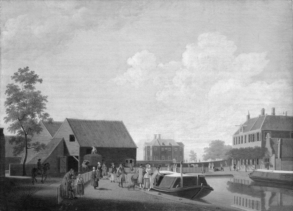 Gezicht op Halfweg met de trekschuit naar Amsterdam