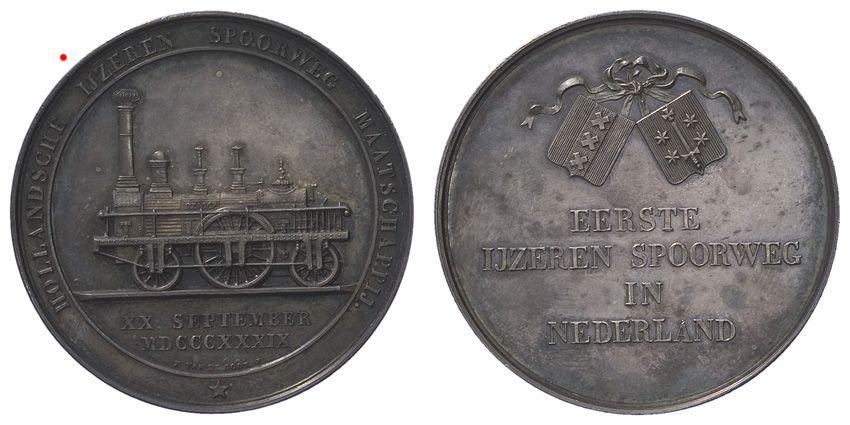 Hollandse IJzeren Spoorweg Maatschappij t.g.v. opening spoorweg van Amsterdam naar Haarlem