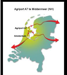 Gunstige ligging van agropark Agriport A7 in de Wieringermeer.