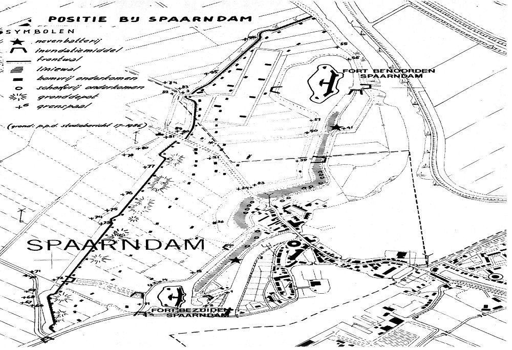 Tekening positie bij Spaarndam