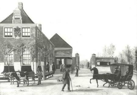 Links het Medemblikker Tolhuis aan de Tolweg in Hoogkarspel. Tekening van A.F Kok, 1843.