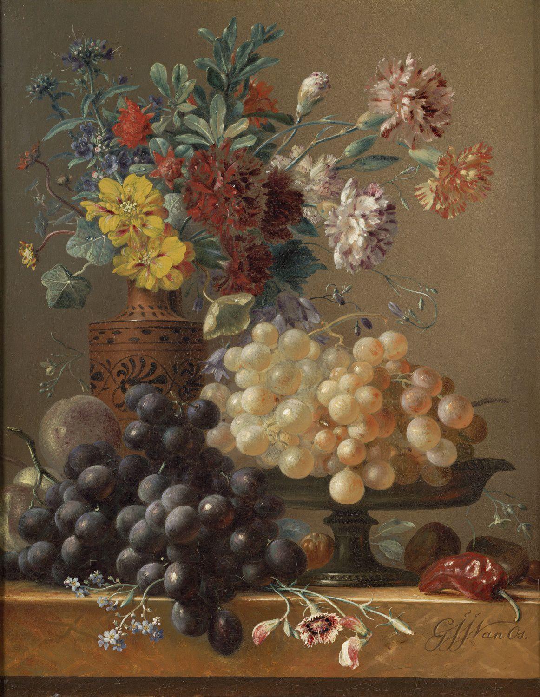 Stilleven met vruchten en bloemen in een Griekse vaas, ca. 1830-1834