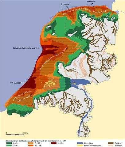 Landoppervlak ca. 10.000 jaar geleden