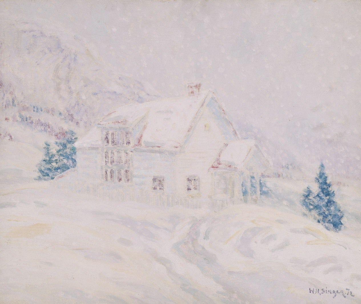 W.H. Singer jr. Atelier in de sneeuw, ongedateerd
